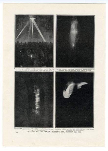 1916 WW1 Print POTTERS BAR Zeppelin Raid AIRSHIP SHOT DOWN Herbert Hoover